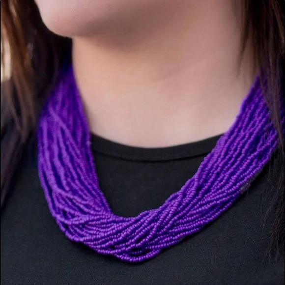 J58 Purple multi strand seed bead necklace